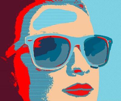 Fototapeta Młoda kobieta, portret z okulary w stylu pop-art