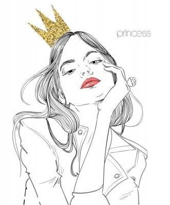 Fototapeta młoda piękna kobieta z koroną