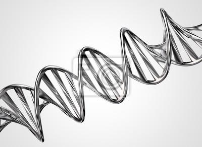 Fototapeta Model 3D chromowane skręcone DNA metalowy łańcuch