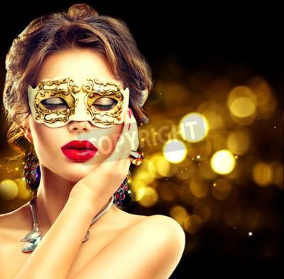 Fototapeta Model Piękna kobieta na sobie weneckie maski karnawałowe maskarady na przyjęciu