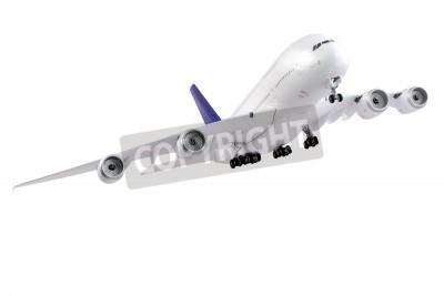 Fototapeta Modern airplane isolated on white background.