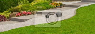 Fototapeta Moderner Steingarten Mit Außentreppe, Felsen, Ziersplitt Und  Steinkugeln Im Panoramaformat   Nowoczesny Ogród