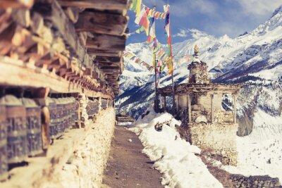 Fototapeta Modlitwa koła w wysokiej Himalajach Nepalu, wieś, podróżować, przeznaczenia