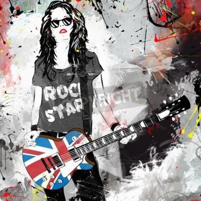 Fototapeta Modna kobieta z gitarą. Gwiazda rocka. ilustracja