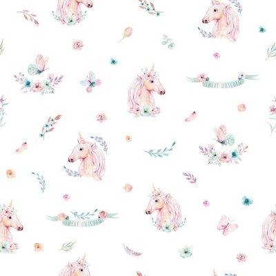 Fototapeta Modny różowy koń kucyk kreskówka.