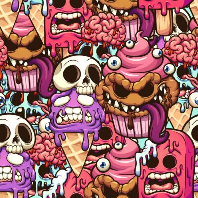 Fototapeta Monster desserts seamless pattern cartoon. Vector clip art illustration with simple gradients. Some elements on separate layers.