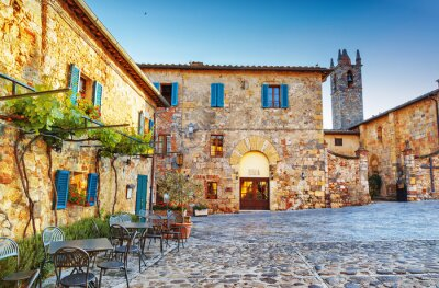 Fototapeta Monteriggioni starożytny historyczny plac miasta, Włochy.