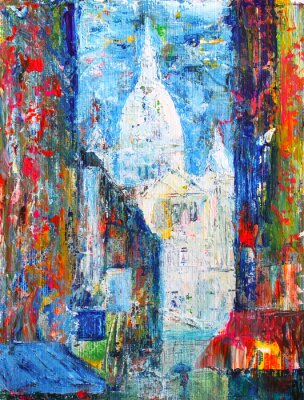 Fototapeta Montmartre street in the Paris, France painted by acrylic