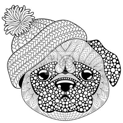 Mops Pies Z Czapka Tatuaż Lub Dorosłych Antystresowy Kolorowanki