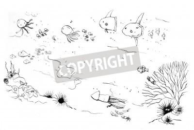 Fototapeta Morskich stworzeń moms i dzieci, baby shower doodle
