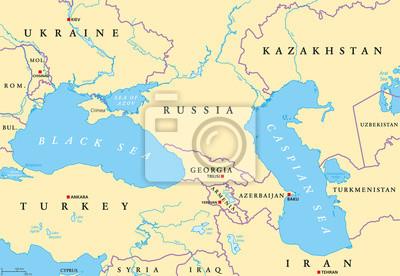 Morze Czarne I Region Morza Kaspijskiego Mapa Polityczna Ze