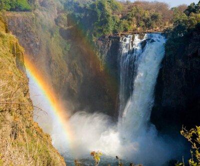 Fototapeta Mosi-oa-Tunya Park Narodowy. oraz Światowego Dziedzictwa UNESCO. Zambiya. Zimbabwe. Doskonałą ilustracją.
