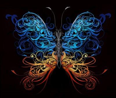 Fototapeta motyl z rozmachem abstrakcyjnych kształtów