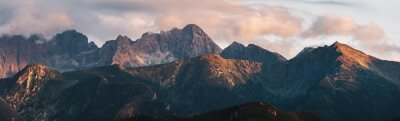 Fototapeta Mountain peaks at sunset. Tatra Mountains in Poland.