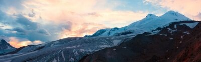 Fototapeta Mountain sunset panorama zimowa