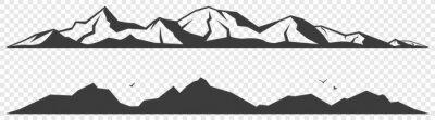 Fototapeta Mountains alpine skyline silhouette isolated on transparent background