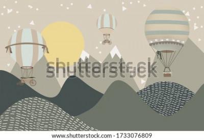 Fototapeta mountains and hot air balloons child room wallpaper
