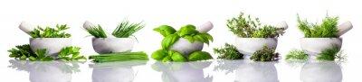 Fototapeta Moździerzu z zielony zioła na białym tle