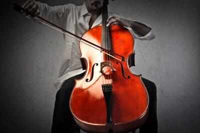 Fototapeta Muzyk grający na wiolonczeli
