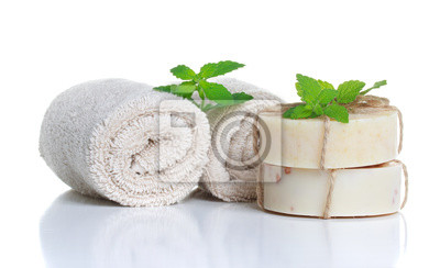 Fototapeta Mydło i ręczniki walcowane