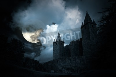 Fototapeta Mysterious medieval castle in a full moon night