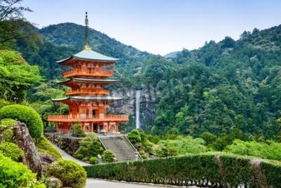Fototapeta Nachi, Japonia na pagoda Seigantoji i Nachi nie Wodospad Taki.