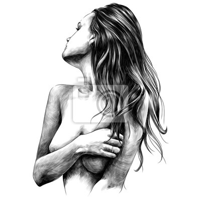 Fototapeta naga dziewczyna pozuje szkic grafiki wektorowej monochromatyczne czarno-biały rysunek