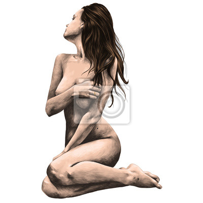 Fototapeta naga kobieta pozuje do szkicu wektor graficzny kolorowy rysunek