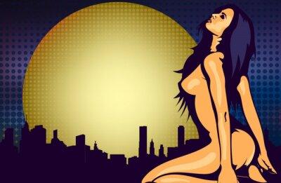 Fototapeta Naga kobieta przy oknie z widokiem na noc miasta, design szablon wektora