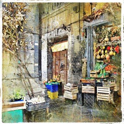 Fototapeta Napoli, Włochy - stare uliczki z małym sklepie, obrazu artystycznego