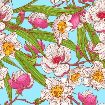 Fototapeta Narcyz kolor i magnolie