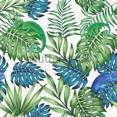 Fototapeta Natura kameleonu egzotycznych błękitnych i zielonych tropikalnych liści bezszwowy wzór na wektorowym białym tle