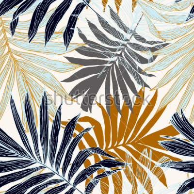 Fototapeta Natura wzór. Ręcznie opracowane tropikalne tło lato: palmy pozostawia w sylwetce, grafika liniowa. Obejmuje sztuki ilustracji w złotych retro kolorach