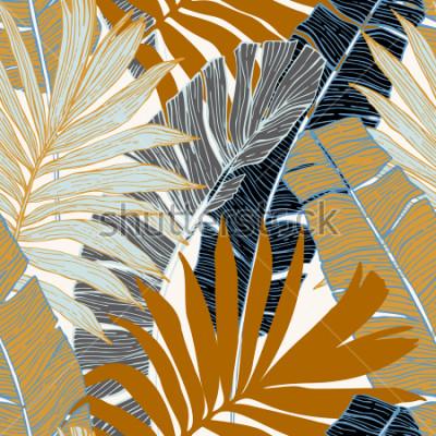 Fototapeta Natura wzór. Ręcznie rysowane streszczenie tropikalny lato tło: palmy i liści bananowca w sylwetka, grafika liniowa. Wektorowa sztuki ilustracja w złotych retro kolorach