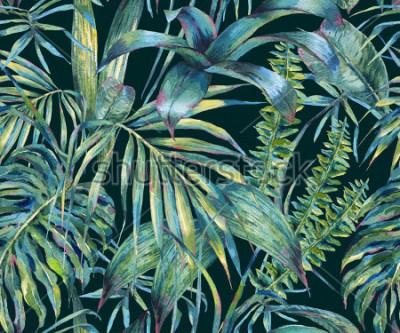 Fototapeta Naturalne liście egzotyczne akwarela wzór, zielone liście tropikalne, paprocie, gęsta dżungla, ręcznie malowane ilustracja lato botaniczny na czarny tle