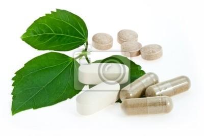 Fototapeta Naturalne tabletki z liścia