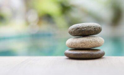 Fototapeta Naturalny kamień zen na tle niewyraźne, światła dziennego