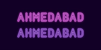 Fototapeta Neon name of Ahmedabad city in India