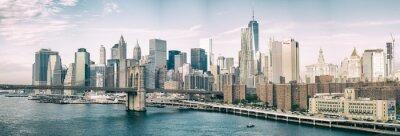 Fototapeta NEW YORK CITY - 22 października 2015: Lower Manhattan Skyline od M