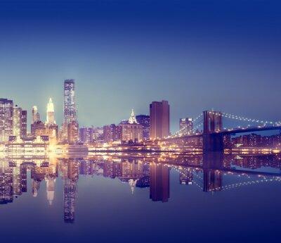 Fototapeta New York City Lights Scenic Bridge View Concept