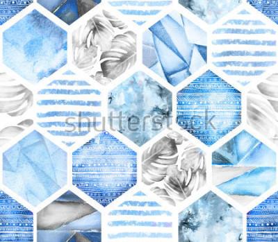 Fototapeta niebieski geometryczny wzór na białym tle. Streszczenie akwarela sześciokąt z liści monstera, paski. grunge tekstur. Ręcznie malowane ilustracja lato. Styl morski