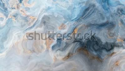 Fototapeta Niebieski marmurowy wzór z szarymi i złotymi inkluzjami. Abstrakcjonistyczna tekstura i tło. Ilustracja 2D