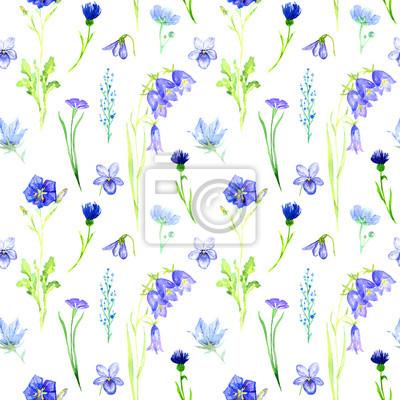 c4f0c51c2937fd Fototapeta Niebieskie kwiaty: bellflowers, fiołki, niezapominajka, chaber,  bez szwu wzorzec projektowy