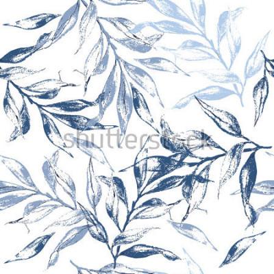 Fototapeta Niebieskie liście tekstury wzór. Akwarela kwiatowy tło. Wzór może służyć do tapety, wzór wypełnienia tła strony internetowej, tekstury powierzchni