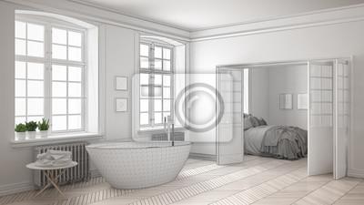 Niedokończony Projekt Minimalistycznej Białej łazienki Z