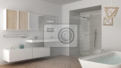 Niedokończony Projekt Minimalistycznej Jasnej łazienki Z Podwójnym