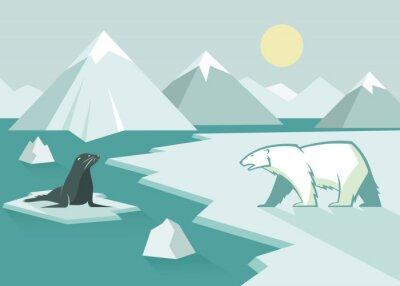 Fototapeta Niedźwiedź polarny i pieczęć - płaska