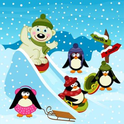 Fototapeta Niedźwiedź polarny i pingwina na szkiełku lodowej - ilustracji wektorowych, EPS