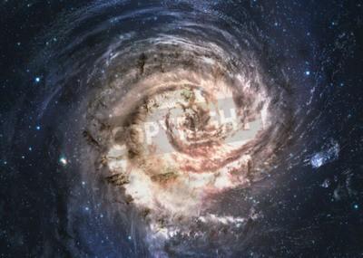 Fototapeta Niesamowita piękna galaktyka spiralna gdzieś w głębokiej przestrzeni.