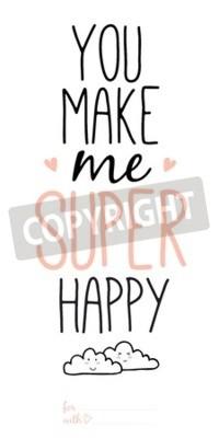 Fototapeta Niezwykłe inspirujące i motywujące cytaty miłosne romantyczne i plakaty. Stylowa typograficzny projekt plakatu w cute stylu. Vector ilustracją może być używany jak pocztówka. Ty mnie bardzo szczęśliwy